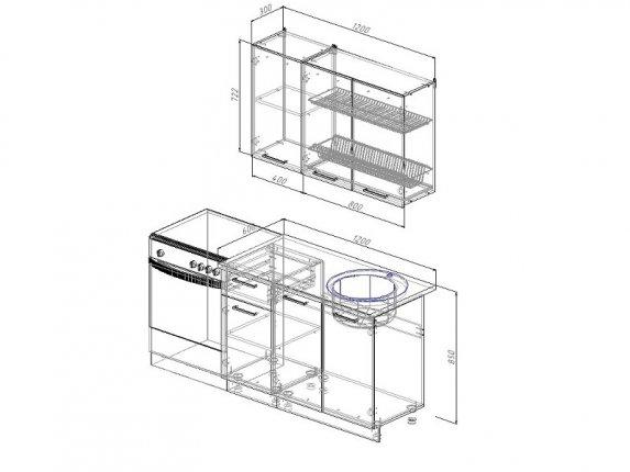 Кухонный гарнитур Антрацит 1200