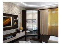 Угловой шкаф-купе Елена венге дуб с двумя зеркалами